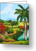 Dominica Alcantara Greeting Cards - A Cuban Valley Greeting Card by Dominica Alcantara