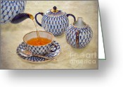 Teacup Digital Art Greeting Cards - A CUP OF TEA Tea being poured into a china cup Greeting Card by Louise Heusinkveld