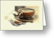 Pencil Drawing Greeting Cards - A Cup of Tee 2 Greeting Card by Stefan Kuhn