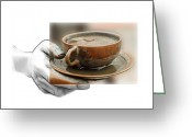 Pencil Drawing Greeting Cards - A Cup of Tee Greeting Card by Stefan Kuhn