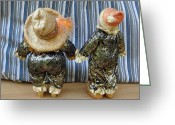 Movie Star Sculpture Greeting Cards - A Curtain Call For Peaches And Ferd Greeting Card by David Wiles