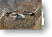 Osprey Photo Greeting Cards - A Cv-22 Osprey Flies Over The Canyons Greeting Card by Stocktrek Images