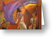 Musicians Pastels Greeting Cards - A Dance for Country Fair Greeting Card by Brandi York