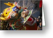 Decoration And Ornament Greeting Cards - A Dancing Dragon Or Lion Dancers Greeting Card by Nadia M.B. Hughes
