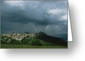 Dark Cloud Greeting Cards - A Dark, Cloud-filled Sky Over Baranello Greeting Card by O. Louis Mazzatenta