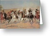 Remington Greeting Cards - A Dash for the Timber Greeting Card by Frederic Remington