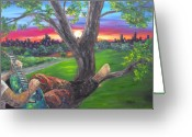 Central Painting Greeting Cards - A Date with My Love Ms. Guitar Painting Greeting Card by Darlene Keeffe