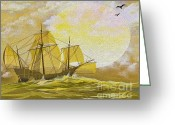 "\""pirate Ship\\\"" Greeting Cards - A Day at Sea Greeting Card by Cheryl Young"