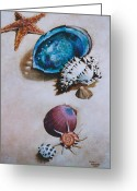 Seashell Picture Painting Greeting Cards - A Day at the Beach Greeting Card by Eve Riser Roberts