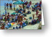 Umbrellas Greeting Cards - A Day At The Beach Greeting Card by Jeff Breiman
