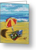 Beach Towel Greeting Cards - A day at the beach Greeting Card by Russell Pierce