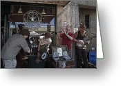 Street Musicians Greeting Cards - A Day At The Market 2 Greeting Card by Tim Allen