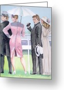 Tuxedo Greeting Cards - A Day At The Races Greeting Card by Arline Wagner