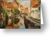 Landscape Painter Greeting Cards - A Day in Brugge Greeting Card by Charlotte Blanchard