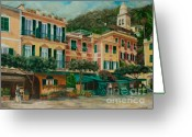 Portofino Italy Artist Greeting Cards - A Day in Portofino Greeting Card by Charlotte Blanchard