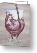 Hayworth Greeting Cards - A Day Without Wine - Merlot Greeting Card by Jennifer  Donald