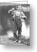 Overalls Greeting Cards - A Days Catch 1900 Greeting Card by Padre Art