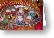 Oil Lamp Greeting Cards - A decorated Hindu prayer thaali with wax candles oil lamps Greeting Card by Ashish Agarwal
