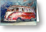 Deluxe Greeting Cards - A Deluxe 15 Window VW Bus Greeting Card by Michael David Sorensen