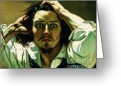 Courbet Greeting Cards - A Desperate Man Greeting Card by Pg Reproductions