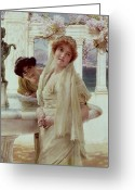 Alma-tadema Greeting Cards - A Difference of Opinion Greeting Card by Sir Lawrence Alma-Tadema