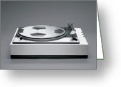 Soccer Greeting Cards - A Disk With A Soccer Print On A Record Player Greeting Card by Benne Ochs