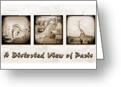 White Digital Art Greeting Cards - A Distorted View Of Paris Greeting Card by Mike McGlothlen