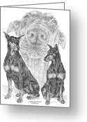 Dobermann Greeting Cards - A Doberman Knows - Dobe Pinscher Art Print Greeting Card by Kelli Swan