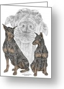 Dobermann Greeting Cards - A Doberman Knows - Dobe Pinscher Dog Art Print Greeting Card by Kelli Swan