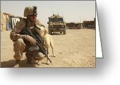 Military Vehicle Greeting Cards - A Dog Handler Posts Security With An Greeting Card by Stocktrek Images