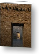 Antiquities And Artifacts Greeting Cards - A Doorway And Walls Inside Pueblo Greeting Card by Bill Hatcher