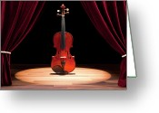Arts Culture And Entertainment Greeting Cards - A Double Bass On A Theatre Stage Greeting Card by Caspar Benson