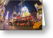 Manhattan Street Scenes Greeting Cards - A Double Decker Bus On Broadway Greeting Card by Mike Theiss
