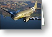 Airplane Greeting Cards - A Douglas C-53 Skytrooper In Flight Greeting Card by Scott Germain