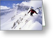Precipitation Greeting Cards - A Downhill Skier Launching Greeting Card by Gordon Wiltsie