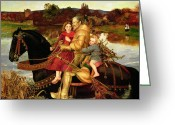 Camelot Greeting Cards - A Dream of the Past Greeting Card by Sir John Everett Millais