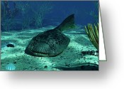 Animal Themes Digital Art Greeting Cards - A Drepanaspis On The Bottom Greeting Card by Walter Myers