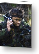 Transceiver Greeting Cards - A Dutch Patrol Commander Communicates Greeting Card by Andrew Chittock