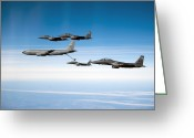 Fighter Jets Greeting Cards - A F-15e Strike Eagle Is Refueled Greeting Card by Stocktrek Images