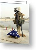 Iraq Greeting Cards - A Fallen Soldiers Gear Display Greeting Card by Stocktrek Images