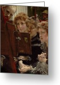 Masterpiece Painting Greeting Cards - A Family Group Greeting Card by Sir Lawrence Alma-Tadema