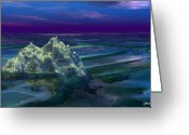 Purples Digital Art Greeting Cards - A Fantasy Seascape Greeting Card by Julie  Grace