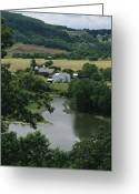 River Scenes Greeting Cards - A Farm On The Banks Of The Susquehanna Greeting Card by Raymond Gehman