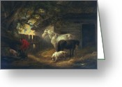 Daily Life Greeting Cards - A farmyard Greeting Card by George Morland