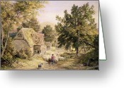 Shepherdess Painting Greeting Cards - A Farmyard near Princes Risborough Greeting Card by Samuel Palmer