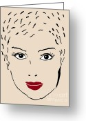 Face Drawings Greeting Cards - A fashion model Greeting Card by Frank Tschakert