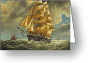 Eric Bellis Greeting Cards - A Fast Clipper Ship Sailing Before the Winde Greeting Card by Eric Bellis