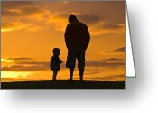 Silhouettes Greeting Cards - A Father And His Baby Son Watch Greeting Card by Jason Edwards