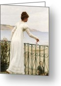 Veranda Greeting Cards - A Favour Greeting Card by Edmund Blair Leighton