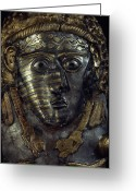 Antiquities And Artifacts Greeting Cards - A Fearsome Visage Decorates A Thracian Greeting Card by James L. Stanfield